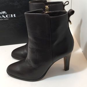 Coach Chestnut Sofft Calf High Heels ankle boots